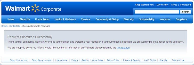 Walmart response screen
