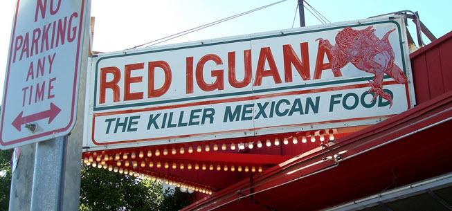 Red iguana sign