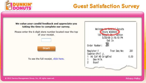 Dunkin donuts survey page 1