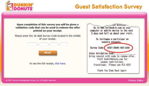 Dunkin donuts online survey