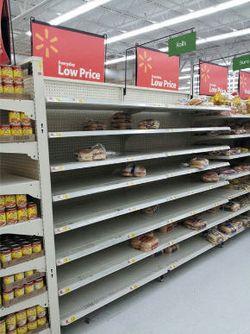Empty shelves in Walmart