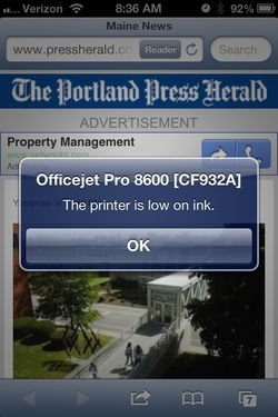 IPhone Printer message