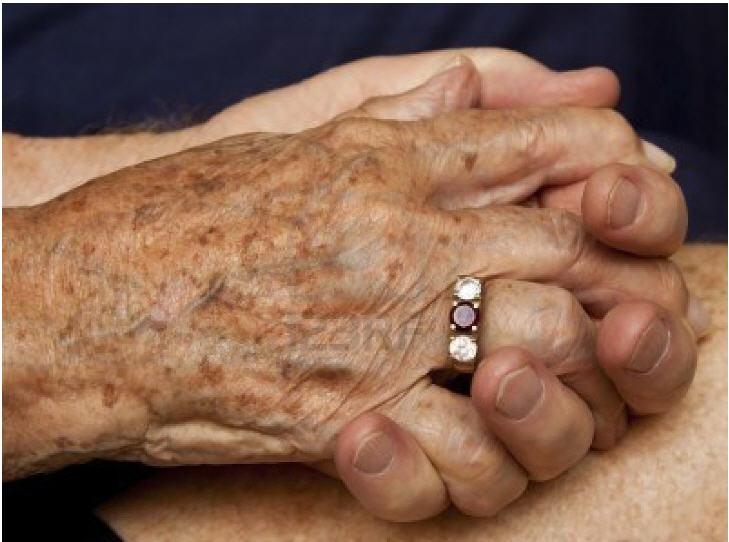 Wedding ring on elderly married couple