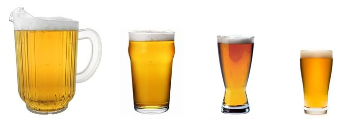 Different size beer servings