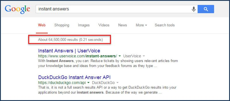 Instant answers in Google