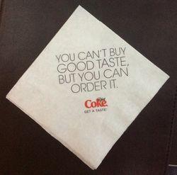 Coke napkin